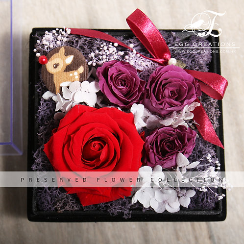 Preserved Rose with Reindeer Button in Display Box
