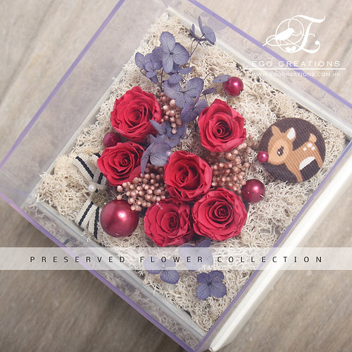 Preserved Roses with Reindeer Button in Display Box