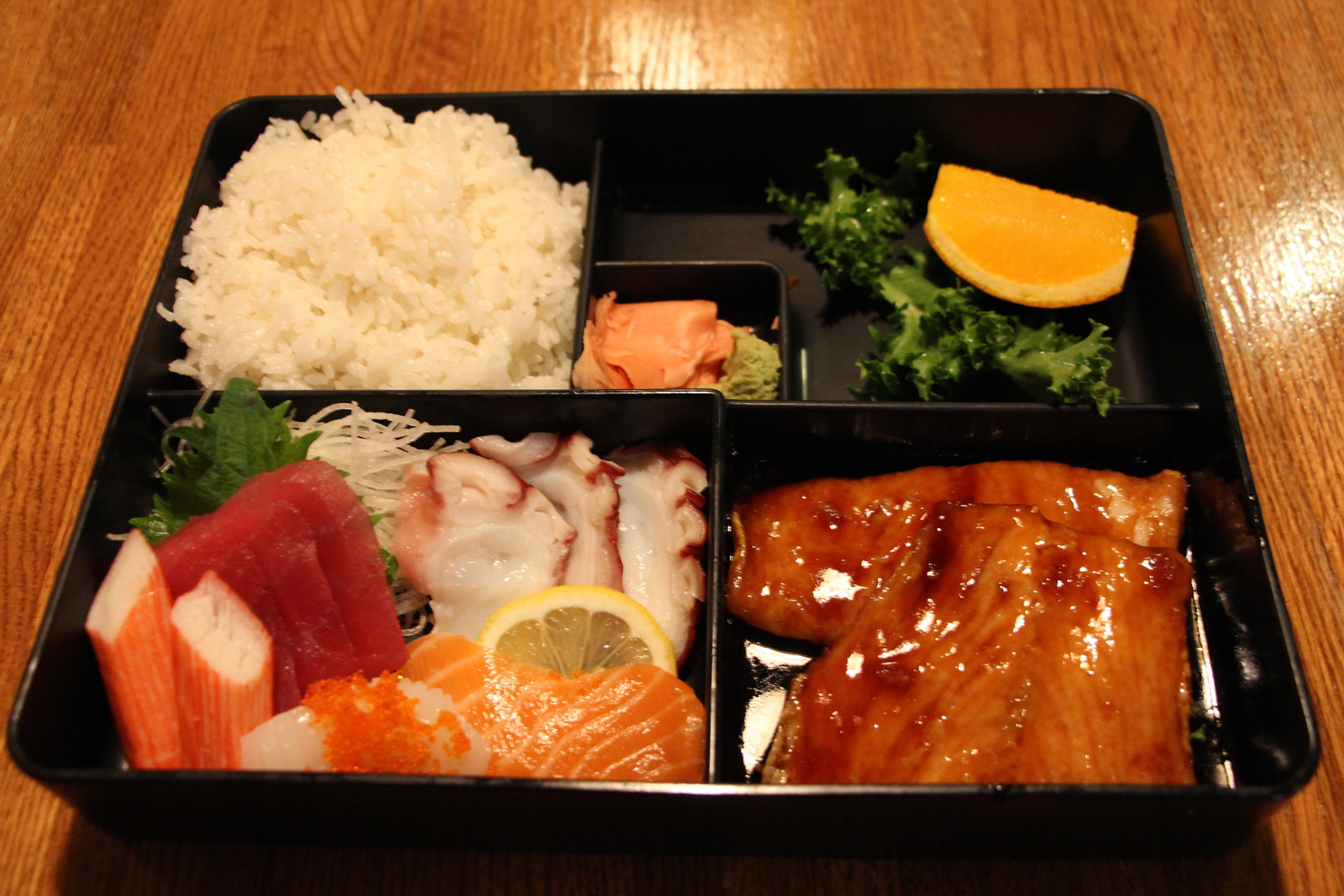 Sashimi & Salmon Teriyaki Bento Box