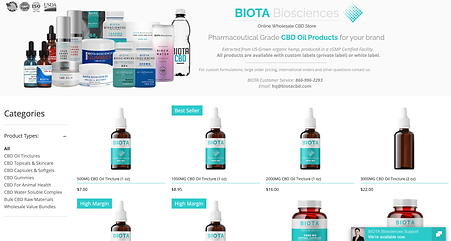 BIOTA BIosciences Online B2B CBD Oil Shop