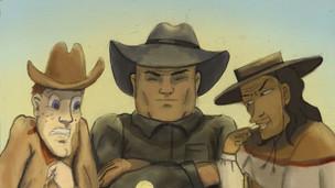 A feisty cowgirl faces down three desperados.