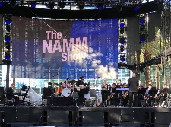 Conducting the SCSBOA All-Stars at the NAMM Show in Anaheim, January 2019