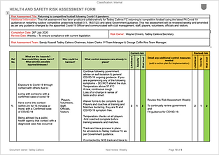 Players/Staff/Supporters Risk Assessment