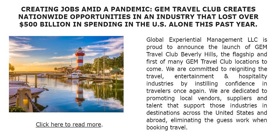 GEM Travel Club Creating Jobs Amid a Pan