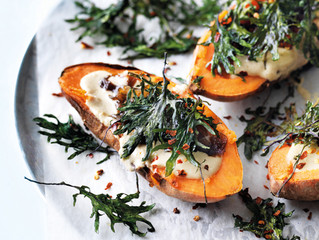 In Season | Baked Sweet Potatoes with Hummus and Kale