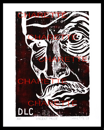 Buy original fine art woodcut prints of Horror Movie Star Vincent Price  of TV by nyc contemporary artist danielle charette