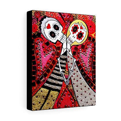 FOLK ART SKULL DAY OF THE DEAD WEDDING CANVAS PRINT BY ARTIST DANIELLE CHARETTE