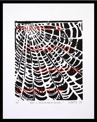 """Buy original fine art woodcut prints of Spider Web """"Tangled Web"""" by nyc contemporary artist danielle charette"""