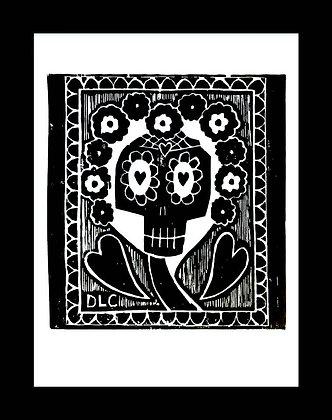 Original Handmade Folk Art Sugar Skull Woodcut, Day of the Dead by Charette
