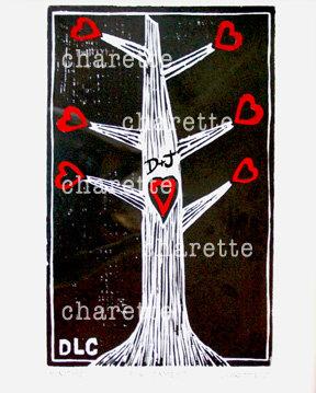 MONOTYPE WOODCUT ORIGINAL BY DANIELLE CHARETTE