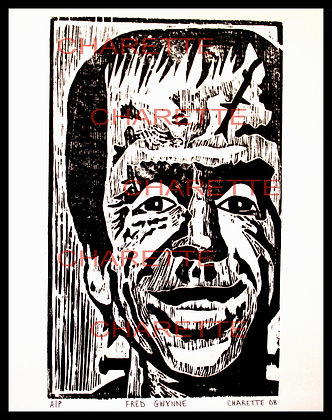 Buy original fine art woodcut prints of Fred Gwynne aka Herman Munster by nyc contemporary artist danielle charette