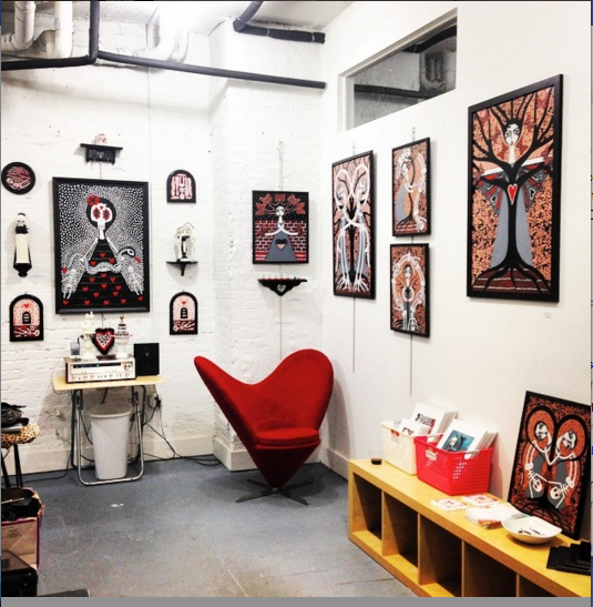 ARTIST STUDIO OF DANIELLE CHARETTE AT CAVE ART GALLERY BROOKLYN NY