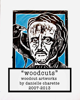 view woodcut original art prints by artist danielle charette of horror, film noir, gothic, b-movie portraits of edgar allan poe, noseferatu, vincent price, bela lugosi, the munsters, day of the dead