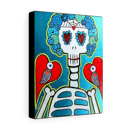 FOLK ART SUGAR SKULL DAY OF THE DEAD CANVAS PRINT BY ARTIST DANIELLE CHARETTE