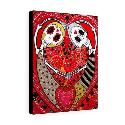 FOLK ART SKULL DAY OF THE DEAD WEDDING CANVAS PRINT BY ARTIST DANIELLE CHARETTE