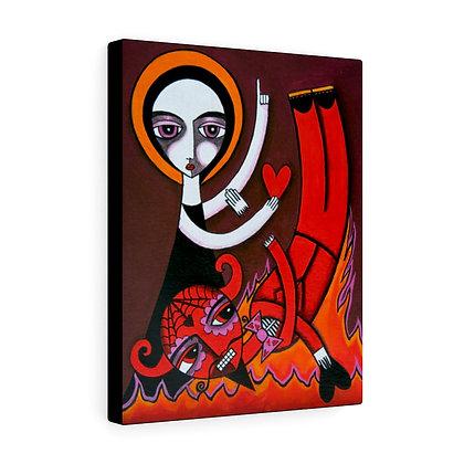 Copy of FOLK ART DEVIL AND ANGEL CANVAS PRINT ARTIST DANIELLE CHARETTE