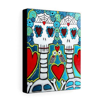 FOLK ART SUGAR SKULL DAY OF THE DEAD CANVAS PRINT BY ARTIST DANIELLE CHARETTE