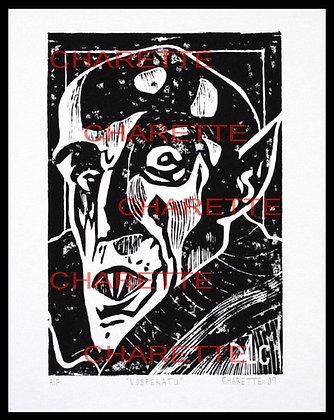 Buy original fine art woodcut prints of vampire Nosferatu by nyc contemporary artist danielle charette