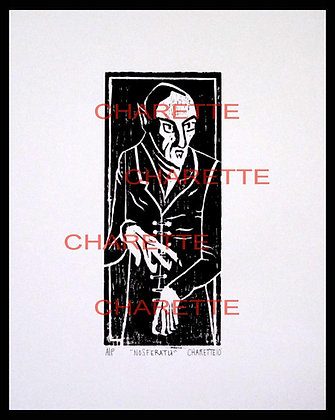 Buy original fine art woodcut prints of vintage vampire Nosferatu by nyc contemporary artist danielle charette