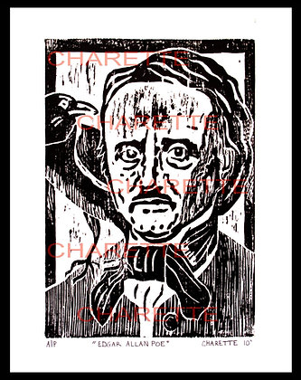 Buy original fine art woodcut prints of Edgar Allan Poe by nyc contemporary artist danielle charette