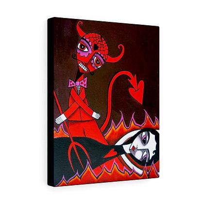 FOLK ART DEVIL AND ANGEL CANVAS PRINT ARTIST DANIELLE CHARETTE