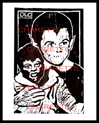 Buy original fine art woodcut prints of Butch Patrick aka Eddie Munster of TV by nyc contemporary artist danielle charette