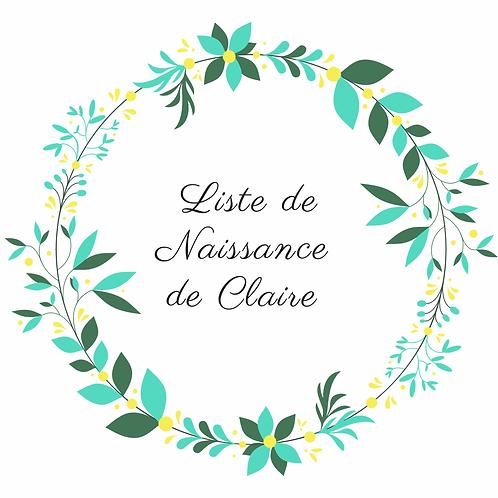 Arche Liste de naissance de Claire