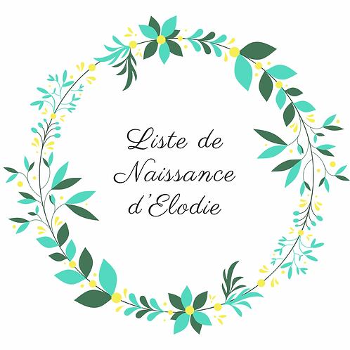 Arche liste de Naissance d'Elodie