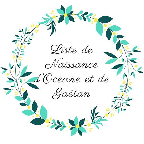 Suspension poussette liste de naissance Océane et Gaëtan