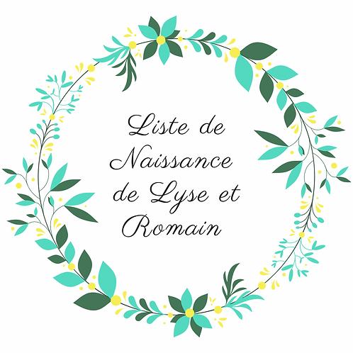Attache tétine liste de naissance lyse et romain