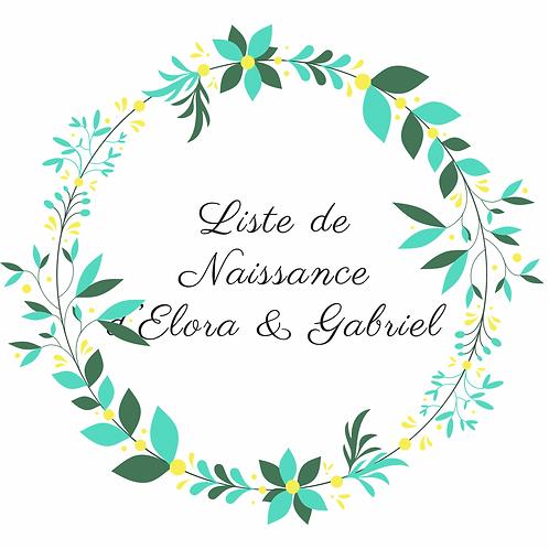 Arche liste de naissance d'Elora & Gabriel
