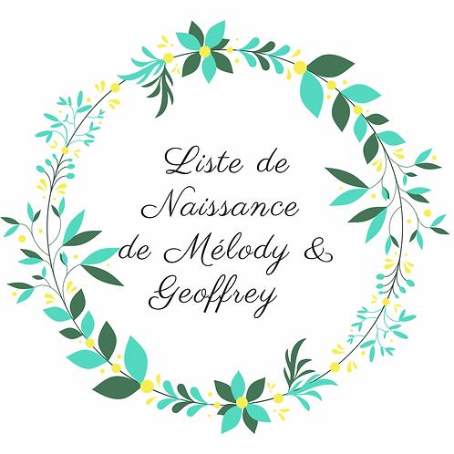 Mobile liste de naissance Mélody et Geoffrey