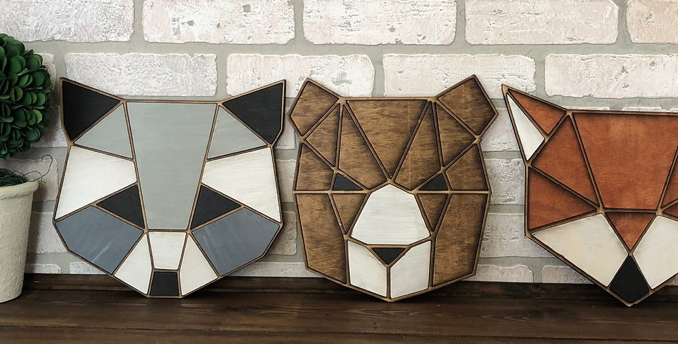 Wooden geometric nursery animals