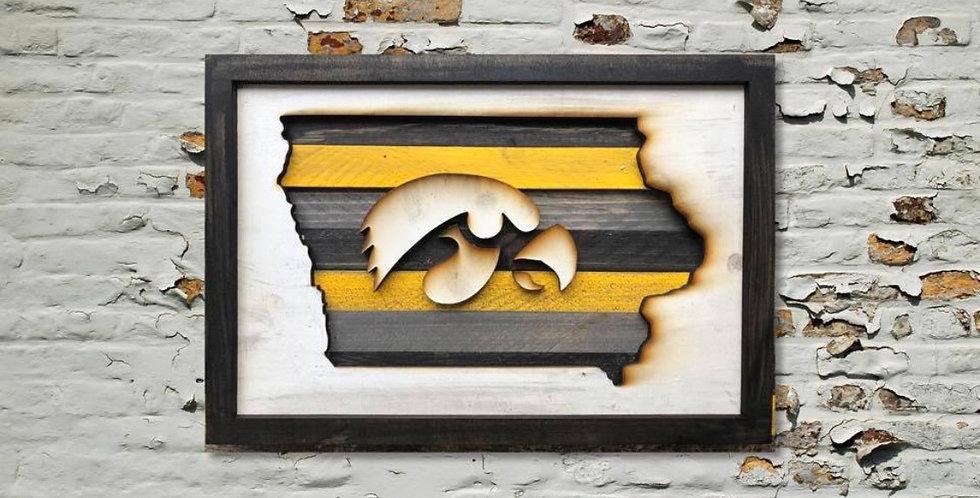 Iowa Hawkeye Reclaimed Wood Sign - Ready to hang