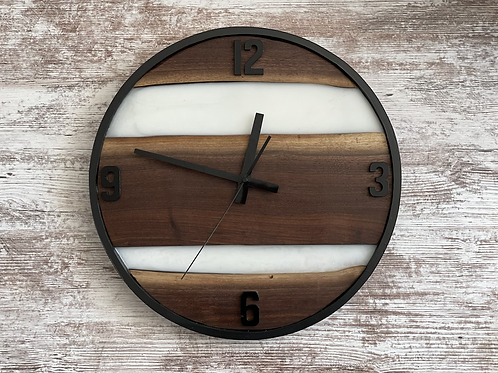 Black walnut live edge and Epoxy Clock