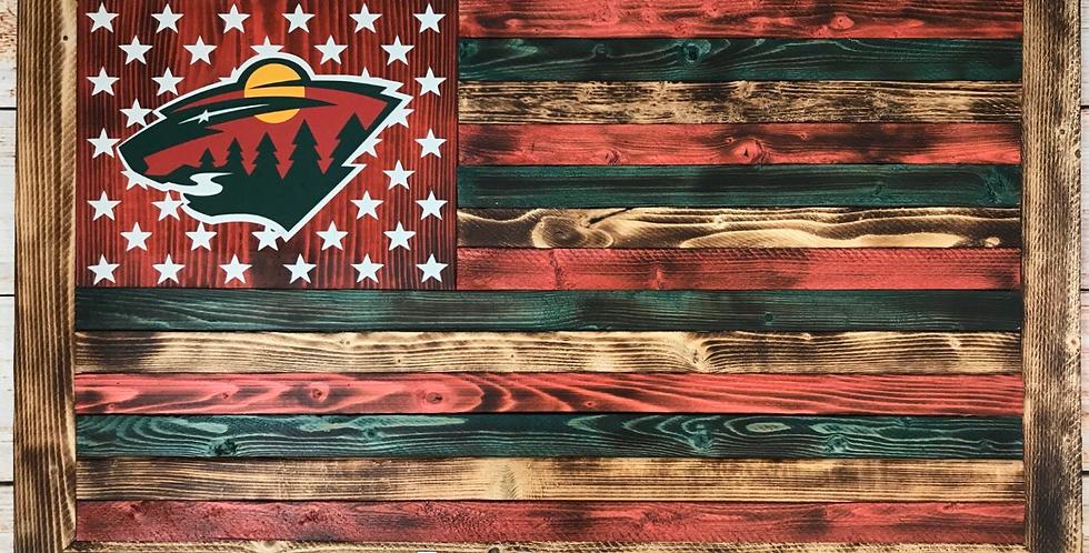 Minnesota Wild Wooden Flag
