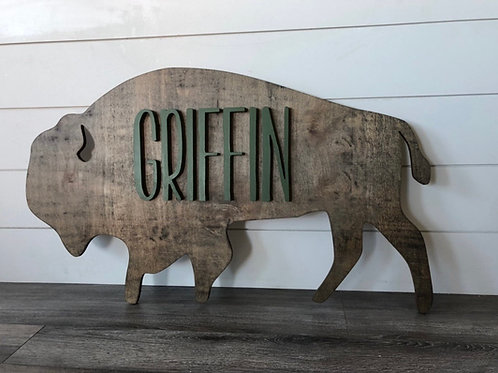Personalized Bison Sign