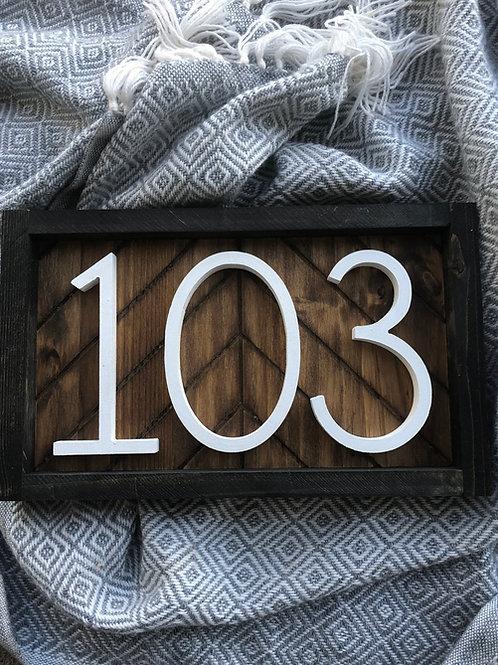 Horizontal Herringbone House Number Sign