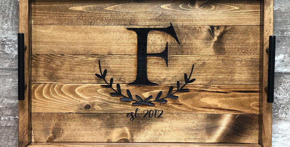 Wooden Monogram Tray
