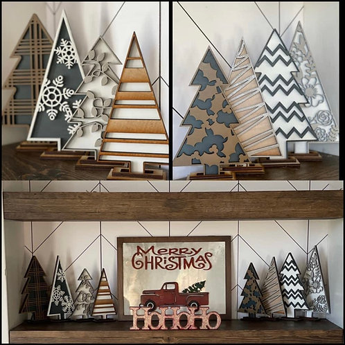 Decorative Wooden Christmas Trees - Set of 8