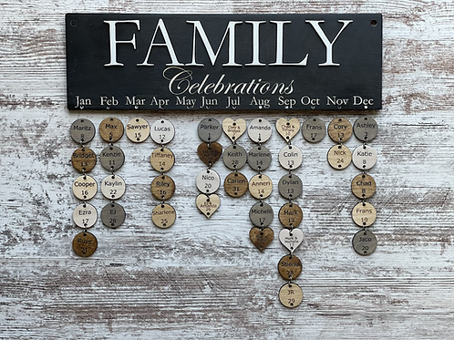 Family Celebrations Calendar | Ready to hang | Customize Yours