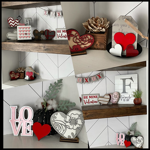 Set of 6 Decorative Hearts