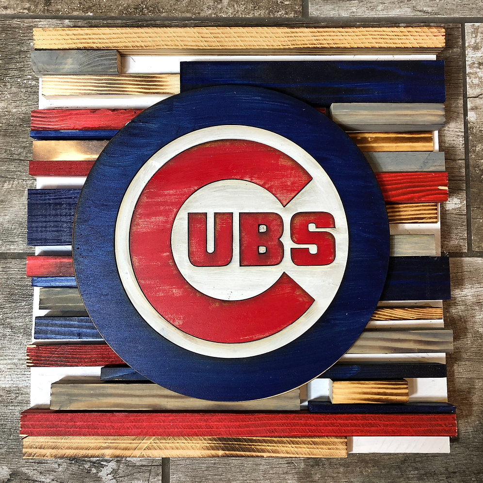 Chicago Cubs Reclaimed Wood Sign With 3d Logo