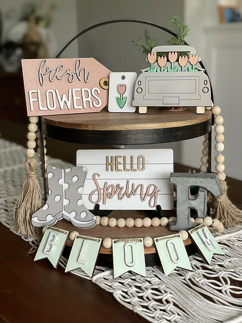 Tiered Tray Spring Decor | Set of 6