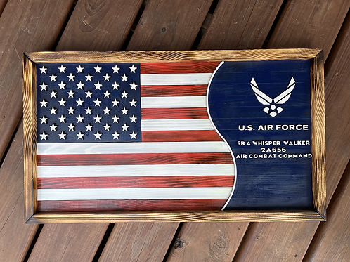 Air Force Flag | Personalized Wooden Air Force Flag