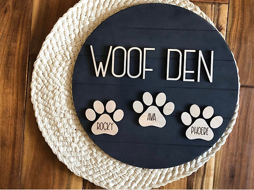 Woof Den sign
