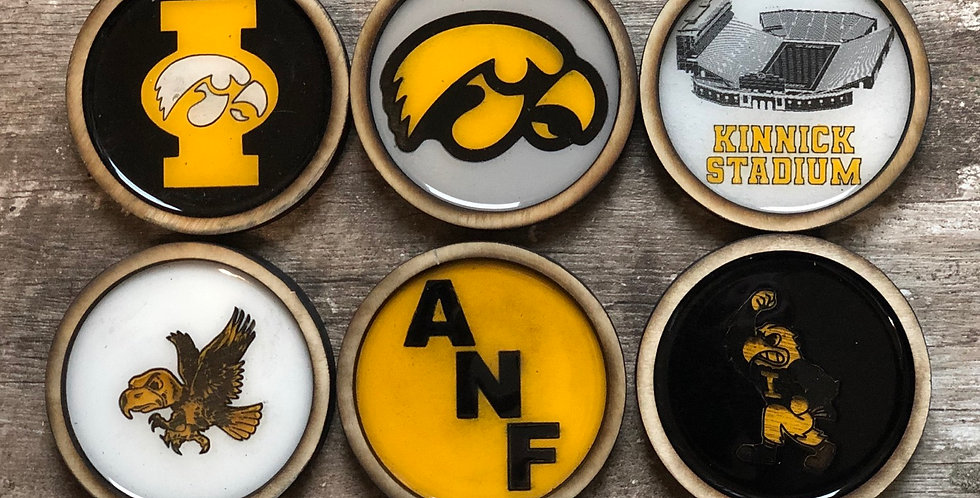Iowa Hawkeye Coasters (Set of 4 or 6)