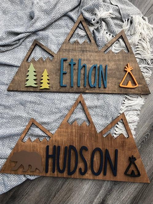 Personalized Mountain Nursery Decor