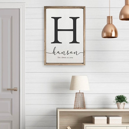 Personalized Farmhouse Style Monogram Sign