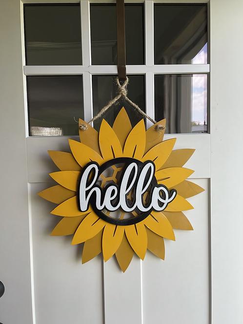 Sunflower Hello Door Hanger